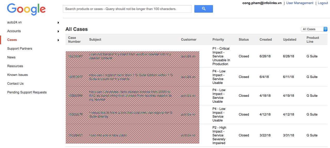 Trang quản lý Ticket gửi liên hệ hỗ trợ với Google