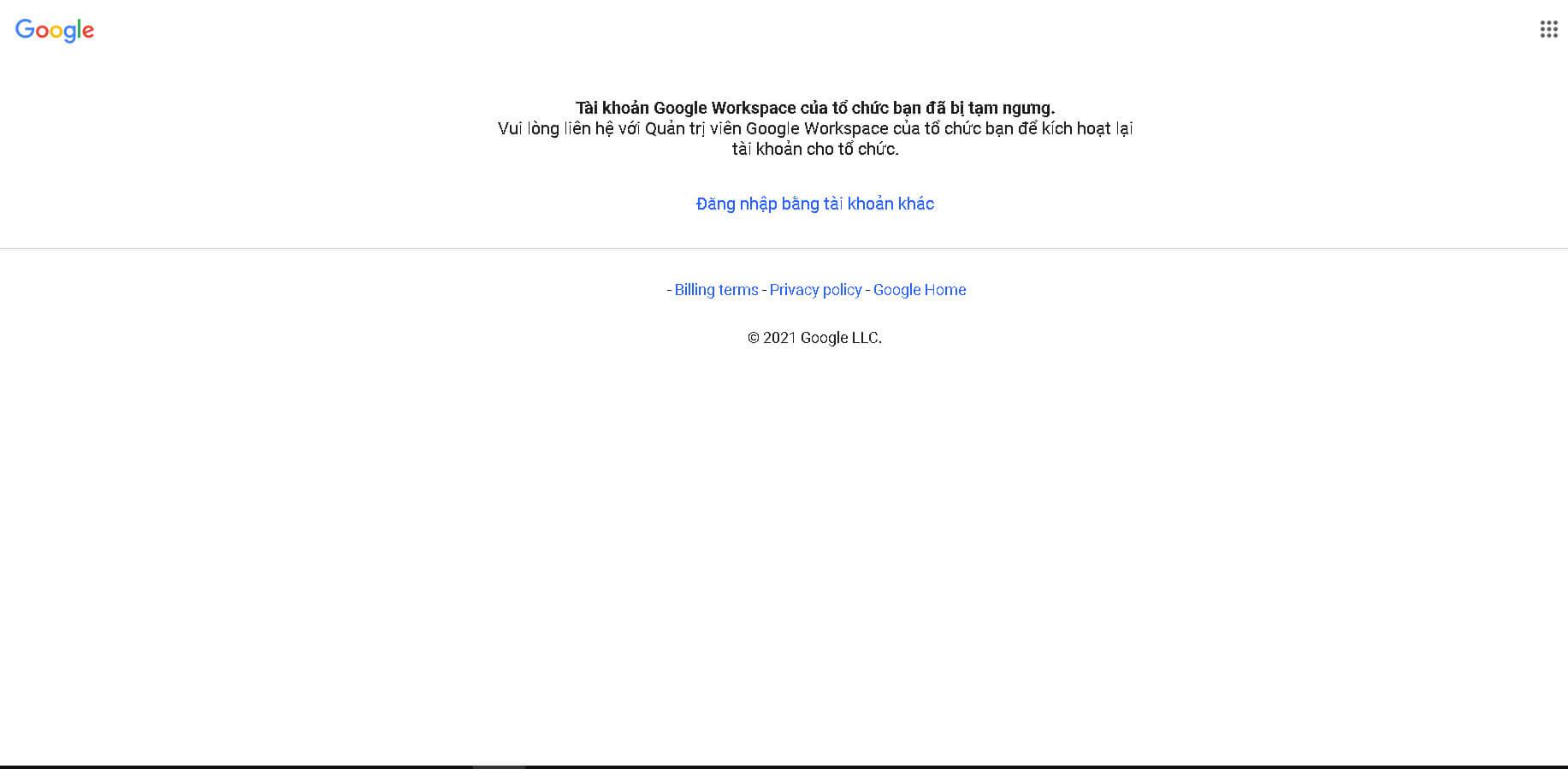 Tài khoản Google Workspace bị khoá